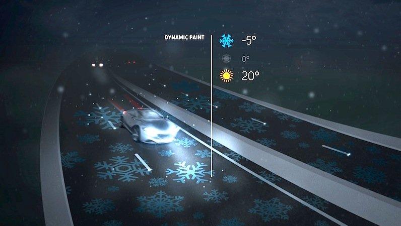 Erfinder Daan Roosegaarde denkt bereits an eine temperaturempfindliche Farbe. So könnten bei Glätte aufgemalte Schneeflocken auf der Fahrbahn erscheinen.