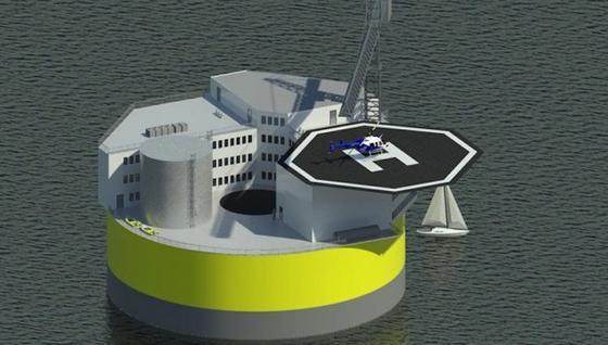 Skizze des schwimmenden Atomkraftwerks des MIT: Die Plattform soll maximal zwölf Kilometer von der Küste entfernt sein. Selbst große Tsunamis sollen ihr nichts anhaben können.