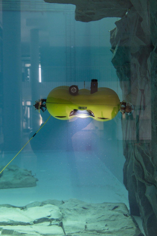 Das autonome Unterwasserfahrzeug Dagon wird für eine Testfahrt zu Wasser gelassen.