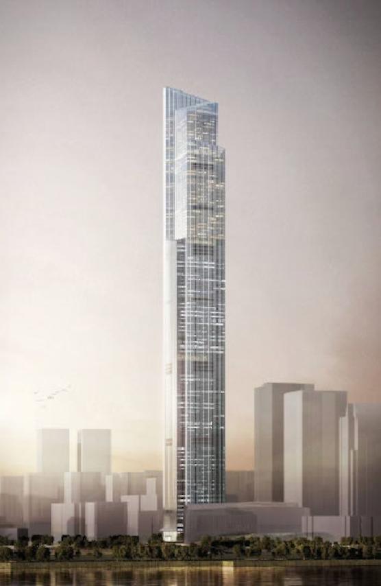So soll das 530 Meter hohe Chow Tai Fook Centre in der südchinesischen Stadt Guangzhou nach seiner Fertigstellung aussehen. Ab 2016 sollen die High-Speed-Aufzüge in den Himmel schießen.