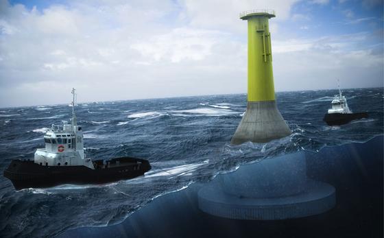 Fundament der Firma Seatower für den Windpark Fecamp vor der Küste der Normandie: Anfang 2015 wollen die Fundamente versenkt werden. Sie stehen aufgrund ihres Eigengewichtes stabil auf dem Meeresgrund.