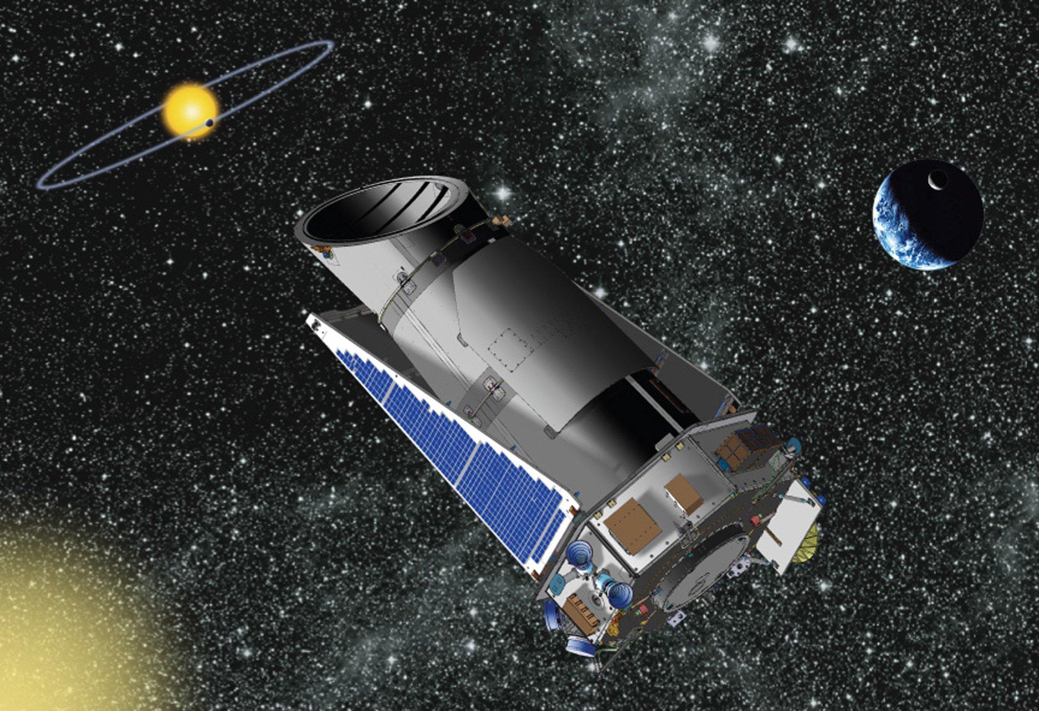 Die Zeichnung zeigt das Teleskop Kepler im Weltall.