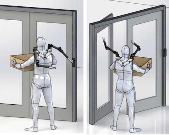 Paketzustellern könnten die Roboterarme den Alltag vereinfachen: Während sie das Paket halten, machen die künstlichen Arme die Tür auf.