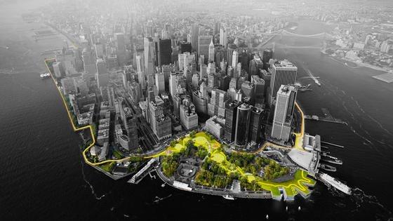 Grünzone als Küstenschutz vor Lower Manhattan: Das dänische Architekturbüro BIG will ein ansteigende Landschaft anlegen, die die Gewalt der Wellen brechen soll.