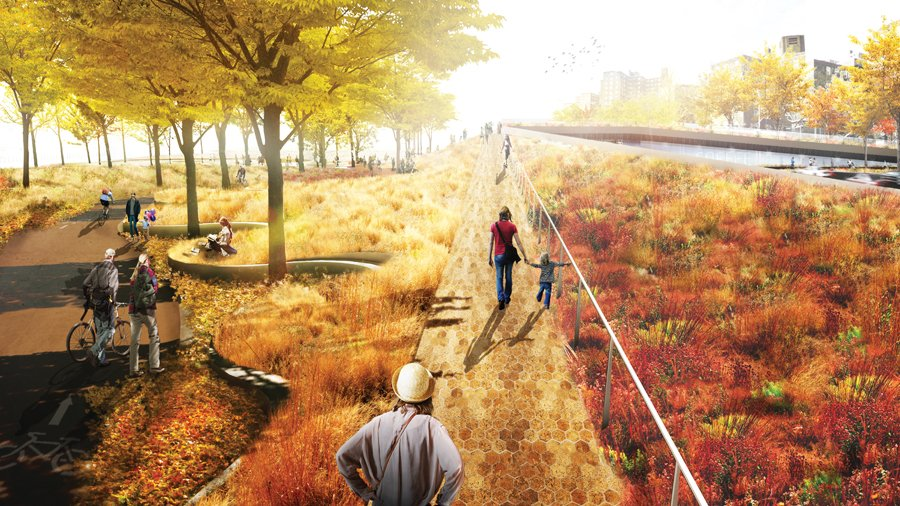 Geplante Grünzone in Lower Manhattan: Künstlich angelegte Landschaften sollen New York und New Jersey vor den Gewalten des Meeres schützen.