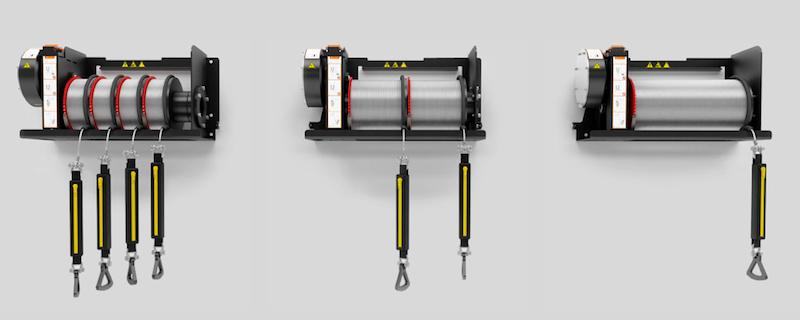 Die drei Versionen des Evacuators arbeiten mit verschiedenen Seillängen: Bei einer Seillänge von 50 Metern haben vier Seiltrommeln im System Platz, bei einer Seillänge von 300 Metern nur eine.