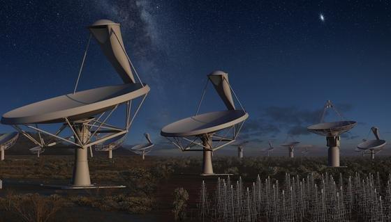 """Deutschland knipst das Licht aus: Nach zweijähriger Beteiligung am milliardenschweren Projekt """"Square Kilometre Array"""", hat die Bundesregierung jetzt den Ausstieg mitgeteilt. Die künstlerische Darstellung zeigt den geplanten Teleskop-Verbund bei Nacht."""