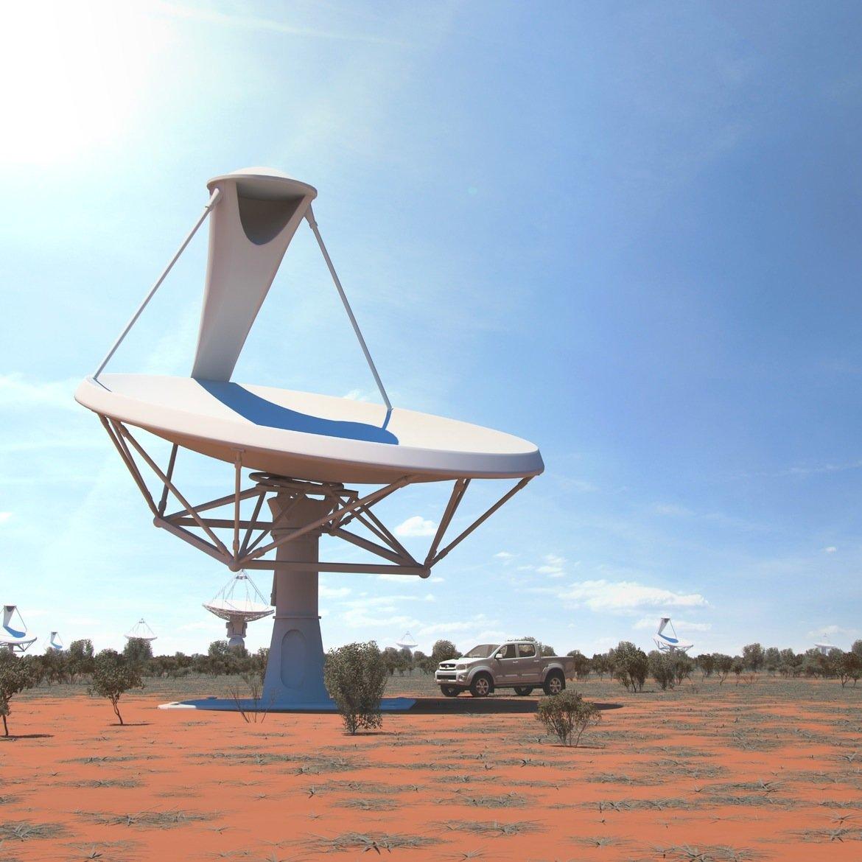 Parabolantenne in der Wüste (künstlerische Darstellung):Rund 3000 Radioteleskope mit rund 15 Metern Durchmesser, die auf einer Gesamtfläche von einem Quadratkilometer in abgelegenen Wüstengebieten stehen werden, sollen zusammengeschlossen einen Verbund mit nie dagewesener Leistungsstärke ergeben.
