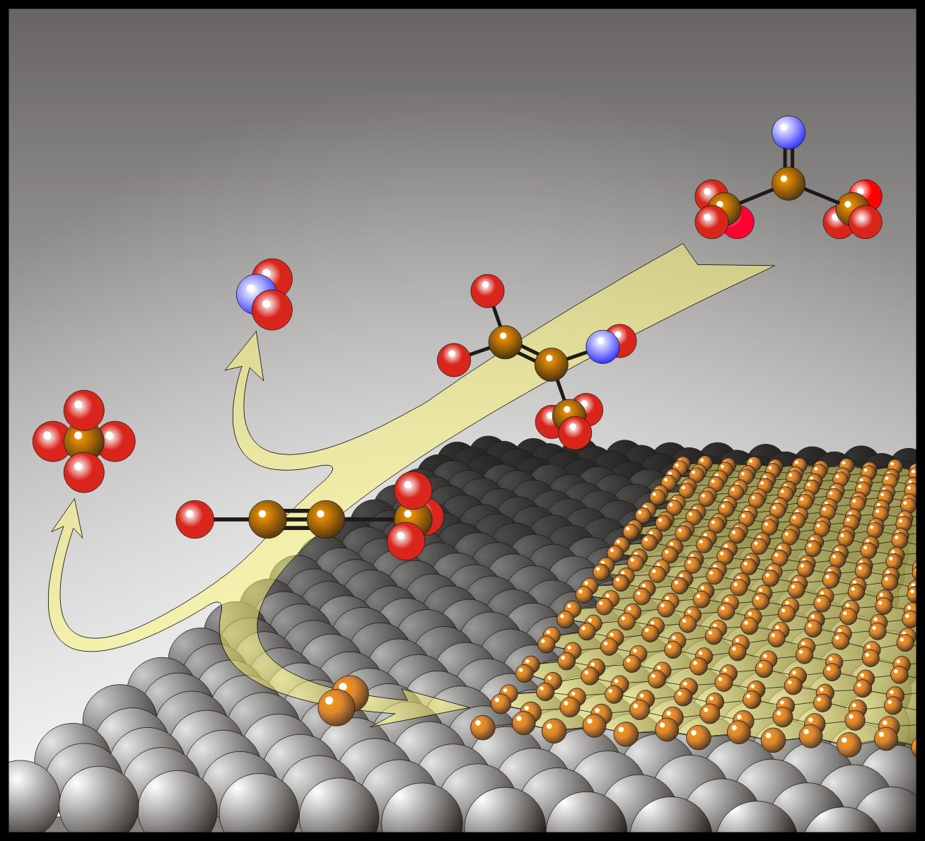 In der Abbildung ist der schematische Zerfall eines molekularen Precursors sowie die Bildung einer monoatomaren Kohlenstoffschicht (Graphen) auf dem Metallsubstrat zu sehen.