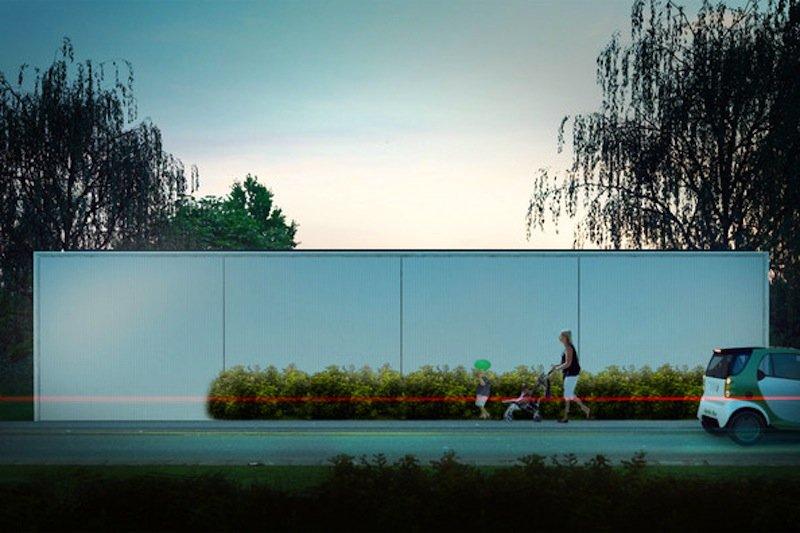 Beim Aktivhaus B10 in Stuttgart kann die verglaste Straßenfront komplett geschlossen werden. Dadurch geht in Leerstands- oder Abwesenheitszeiten weniger Energie verloren.
