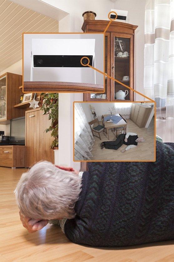 Die Sensoren registrieren Position und Lage der Person – selbst bei Dunkelheit. Sie sind mit einer Sensorbox verbunden, diese wiederum kommuniziert über WLAN mit der Carebox.