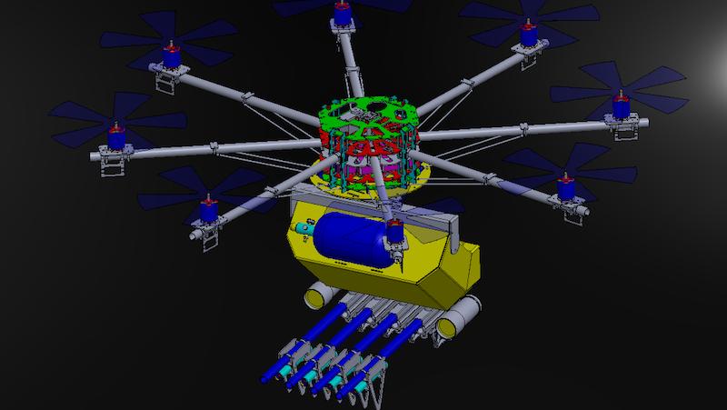 Die Drohne fliegt mit acht Propellern mit jeweils 40 Zentimetern Durchmesser. Das ermöglicht genügend Auftrieb, um 4000 Geschossen zu laden.
