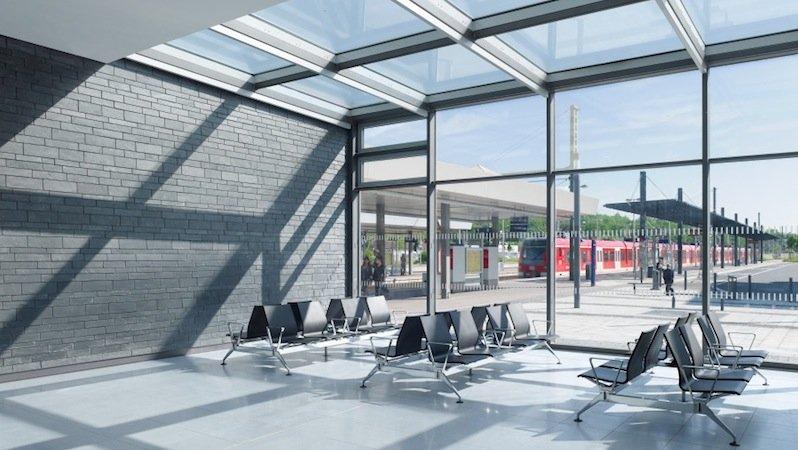 Verglaste Dachflächen sorgen für die optimale Nutzung des Tageslichts. Wo künstliches Licht benötigt wird, kommen LED-Lampen zum Einsatz.