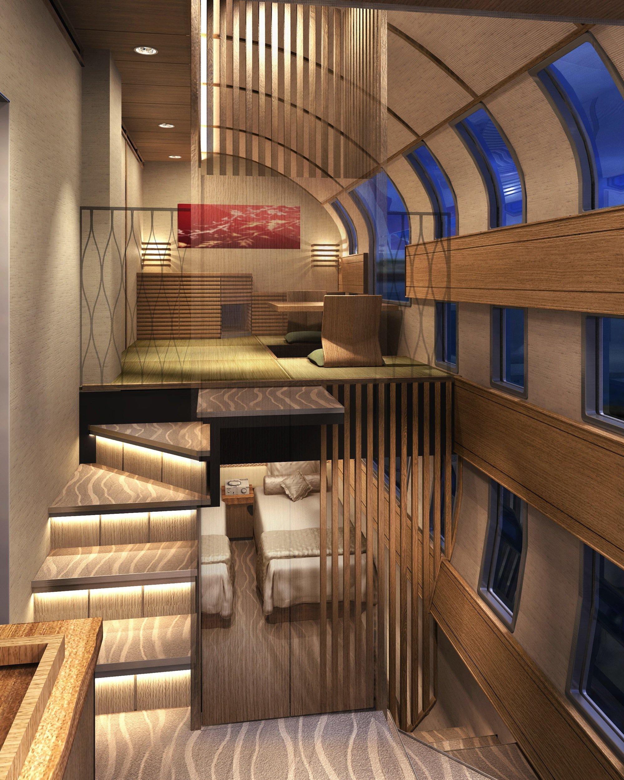 Nicht in einem Haus, sondern auf Schienen befindet sich dieses Appartement über zwei Etagen – der japanische Luxuszug Cruise Train setzt neue Maßstäbe in der Kultur des Reisens.