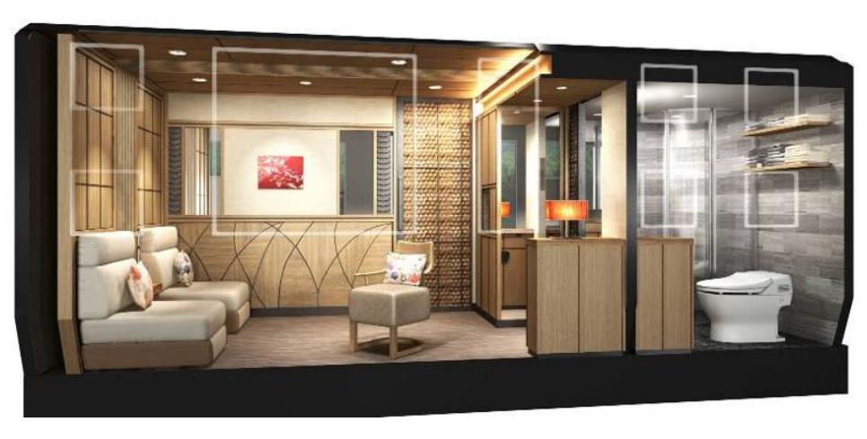 Auch die sogenannten Standard-Luxusappartements im Cruise Train sind ausgesprochen großzügig und verfügen über Wohnraum, Schlafraum und ein Bad.