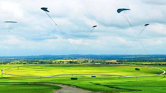 Mit Lenkdrachen will das Start-up NTS Strom erzeugen. Die Drachenfliegen in 300 bis 500 Metern Höhe und ziehen Loren am Boden im Kreis, die Strom erzeugen.