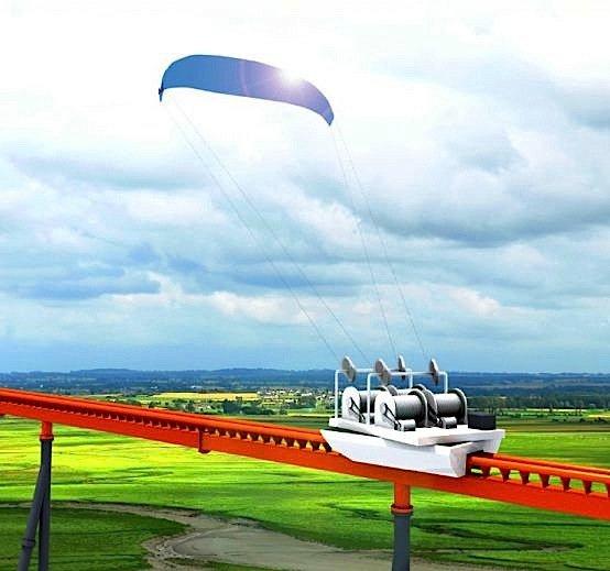 Die Lenkdrachen haben eine Fläche von 400 Quadratmeter und erreichen hoch am Himmel optisch die Größe eine Flugzeuges.
