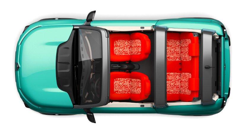 Der neue E-Mehari von oben: Die gesamte Karosserie ist aus Kunststoff. Bei Regen kann man das Dach verschließen. Man kann es aber auch lassen.