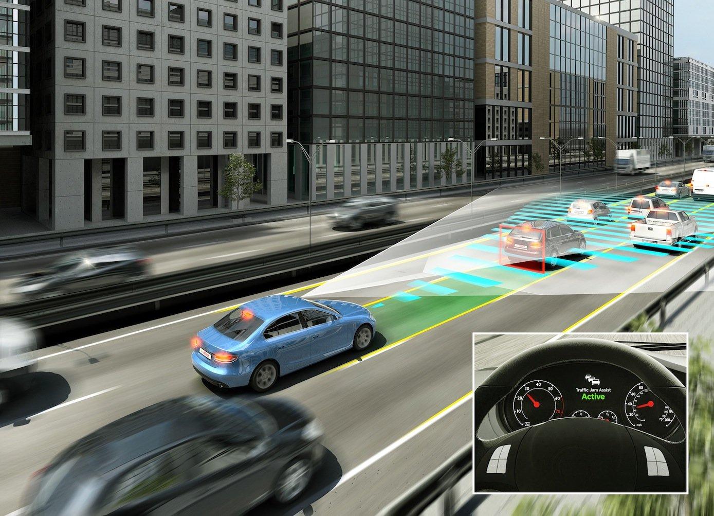 Autos sind in Zukunft ständig miteinander in Kontakt, um beispielsweise Staudaten auszutauschen. So weiß ein Auto schon von einem Unfall, den der Fahrer noch gar nicht sehen kann.