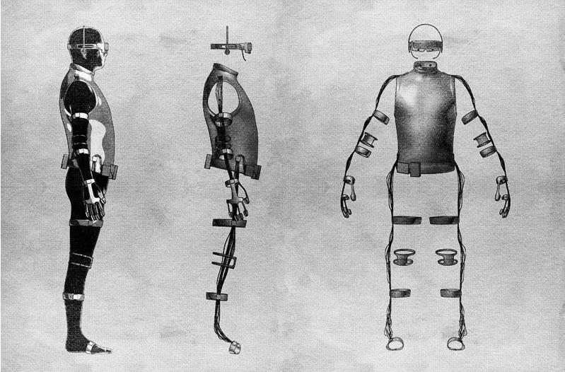 Skizzen zur Entwicklung des Tesla Suit.