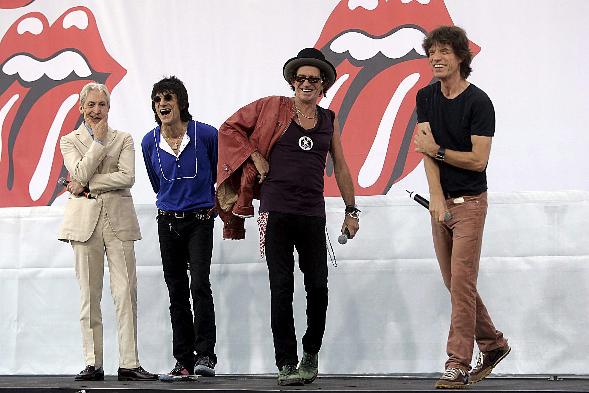 Die Rolling Stones im Jahr 2005 bei einer Pressekonferenz in New York: Ihr Welthit