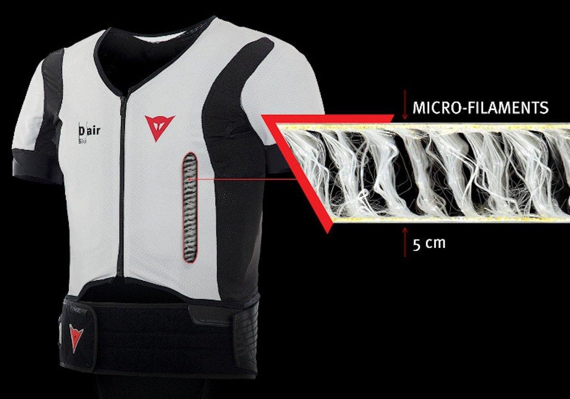 Der 800 g leichte Ski-Airbag namens D-Air besteht aus einer Art Korsett, Sensoren und einem Mikrocomputer mit einem raffinierten Algorithmus. Dieser erkennt, wenn der Fahrer stürzt. Die eingearbeiteten Mikrofäden ermöglichen eine gleichmäßige Ausdehnung des Airbags.