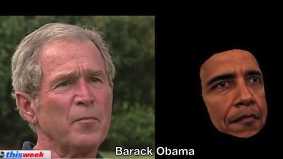 US-Präsident Barack Obama mit der Mimik seines Vorgängers George W. Bush: Es gibt einige bestimmte markante Punkte und Merkmale in einem Gesicht, die genügen, um aus Fotos bewegte Bilder zu erzeugen. Mit der neuen Technik der University of Washington kann dann die Mimik fremder Personen nachgestellt werden.