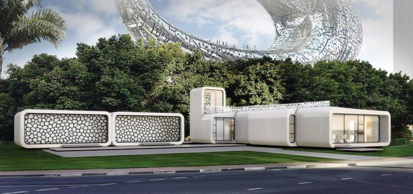 Das Bürogebäude aus dem 3D-Drucker soll in unmittelbarer Nähe vom Museum of the Future (hinten) gebaut und von dessen Mitarbeitern genutzt werden.