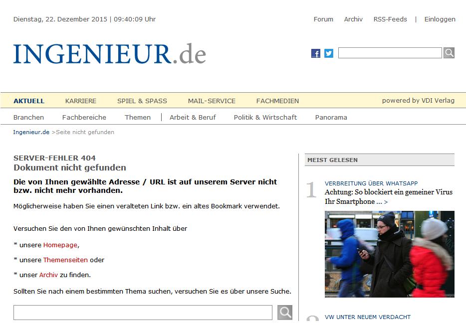 Fehlermeldung 404 auf der Seite Ingenieur.de: Der User hat eine Seite aufgerufen, die nicht mehr verfügbar ist.