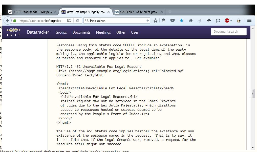 Witzig: Als Beispiel für einen erklärende Textergänzung zum HTTP-Status-Code 451 hat sich Initiator Tim Bray bei Monty Pythons Film