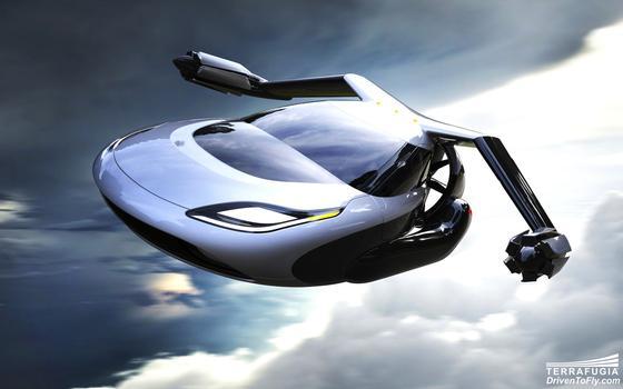 Illustration des fliegendes TF-X: Das Flugauto soll in der Luft auf 320 km/h beschleunigen und bis zu 800 km weit fliegen können.