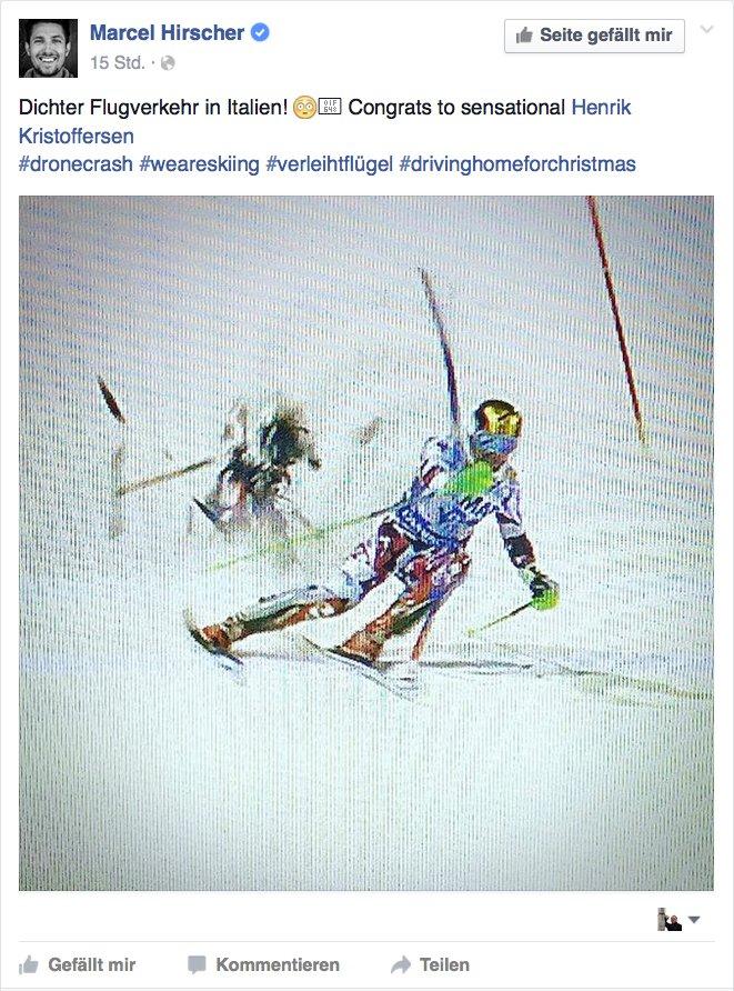 """""""Dichter Flugverkehr in Italien"""" postete Skirennfahrer Marcel Hirscher nach dem Absturz einer Kameradrohne unmittelbar hinter ihm beim Rennen inMadonna di Campiglio."""