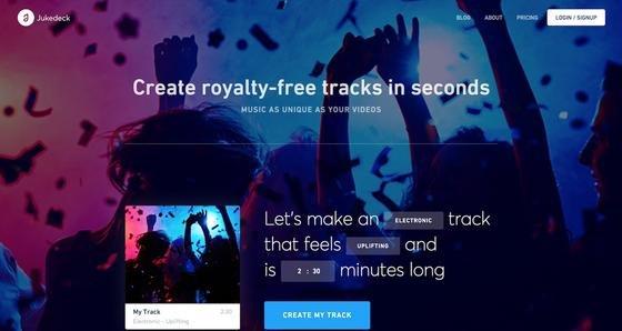 Das junge Londoner Unternehmen Jukedeck bietet vom Computer komponierte elektronische Musik zum Herunterladen an. Damit können Videos musikalisch unterlegt werden, ohne das dies zu rechtlichen Problemen führt oder Nutzungsgebühren gezahlt werden müssen.