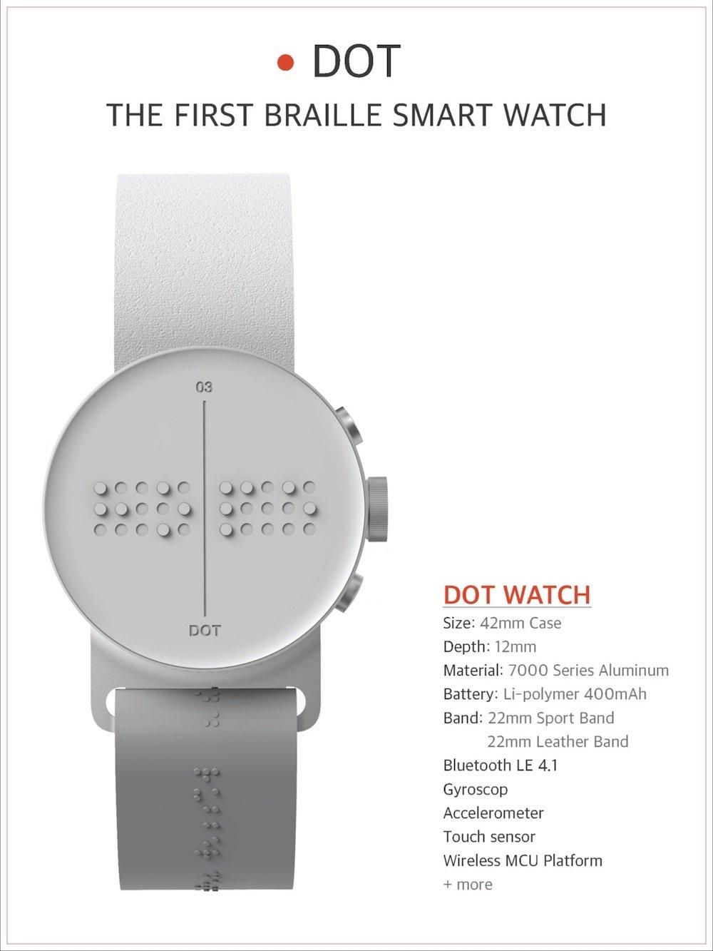 Die Daten zur Dot Watch auf einen Blick.