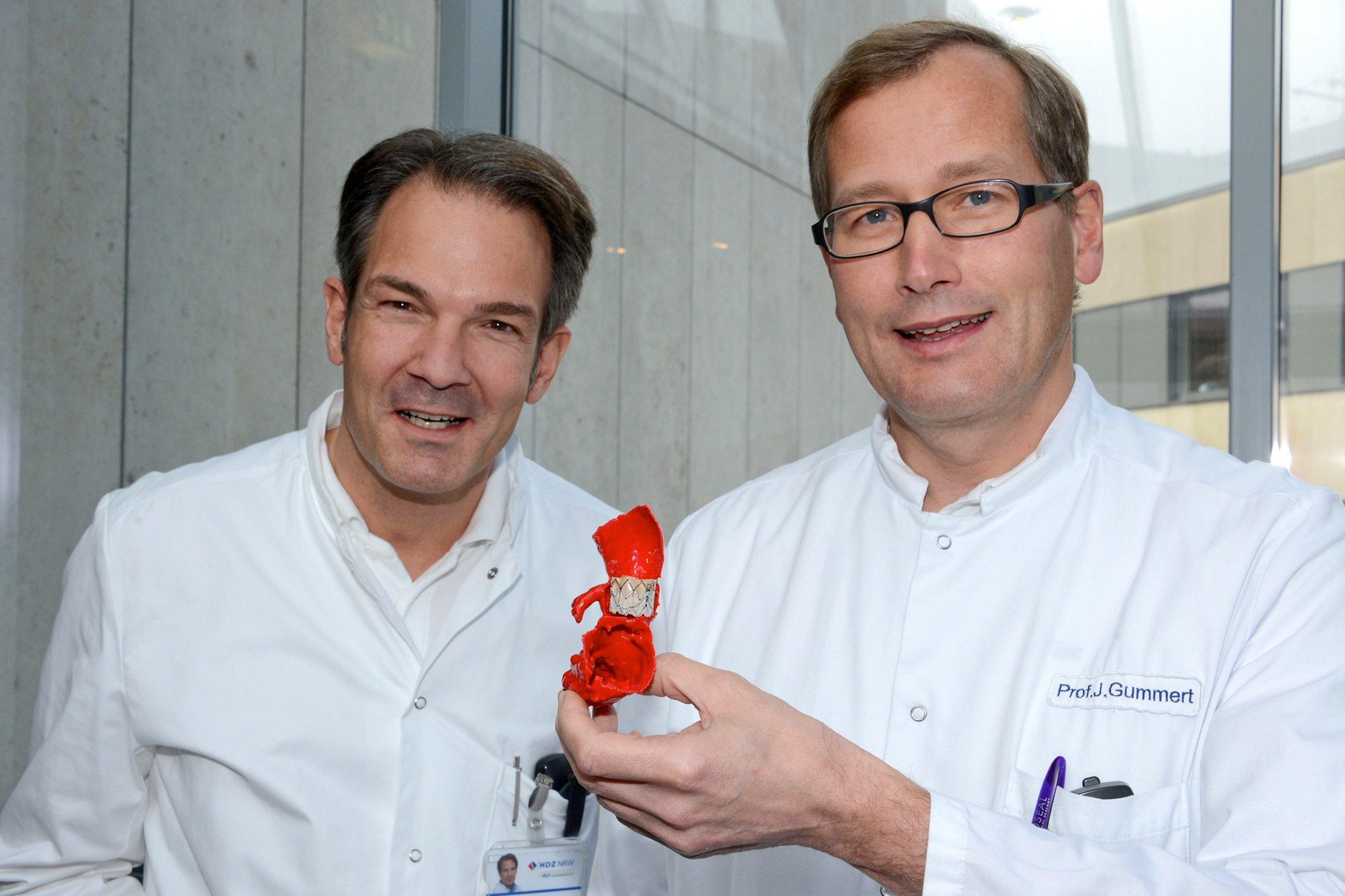 Prof. Jan Gummert (r.) und Prof. Stephan Ensminger von der Herzklinik in Bad Oeynhausen mit dem 3D-Modell des Patientenherzens. Dadurch konnten sie erproben, welche Herzklappe am besten passt und per Katheder am schlagenden Herzen eingesetzt werden kann.
