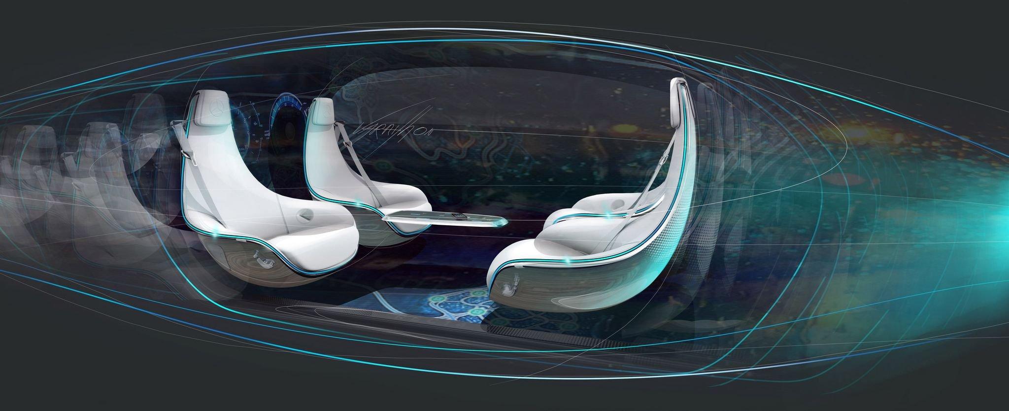 Im Auto der Zukunft von Daimler sind die Sitze frei drehbar, so dass man sich besser unterhalten kann, wenn das Auto selbstständig fährt.
