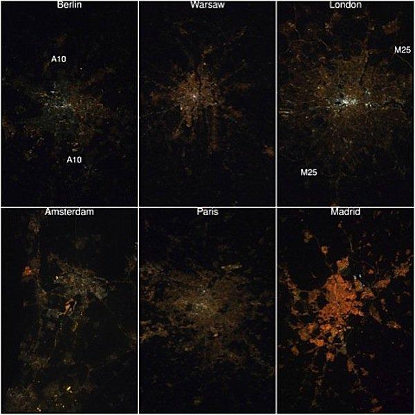 Leuchtabdruck verschiedener Großstädte vom Weltall aus betrachtet.