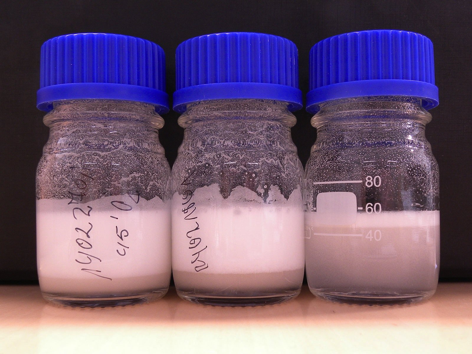 Das funktionalisierte Polymerpulver verteilt sich im Wasser.Erreger bleiben an den 100 bis 200 Mikrometer großen Pulverpartikelnhaften.