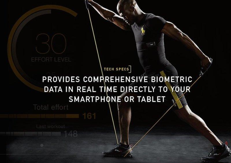 Polo Tech Shirt von Ralph Lauren:Eingewebte Sensoren registrieren biologische und physiologische Daten des Trägers und senden sie über eine sogenannte Black-Box an das Smartphone oder Tablet.