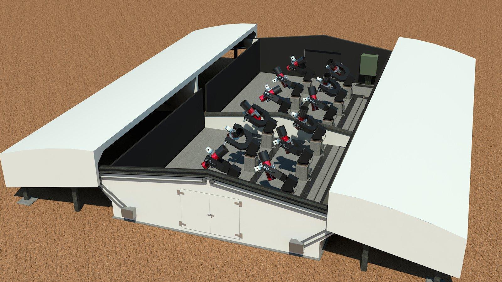 Darstellung der NGTS-Teleskopanlage: Der Next Generation Transit Surveyist ein auf großflächige Beobachtungen angelegtes System, dass aus zwölf Einzelteleskopen besteht, von denen jedes einen Durchmesser von 20 Zentimetern hat.