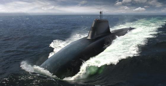 Computergrafik eines geplanten Atom-U-Boots: Die Royal Navy interessiert sich für die Quantum-Navigation, da U-Boote bislang aus Sicherheitsgründen während wochenlanger Fahrten auf verräterisches GPS verzichten müssen. Dabei verfehlen sie Ziele um bis zu 30 Kilometer.