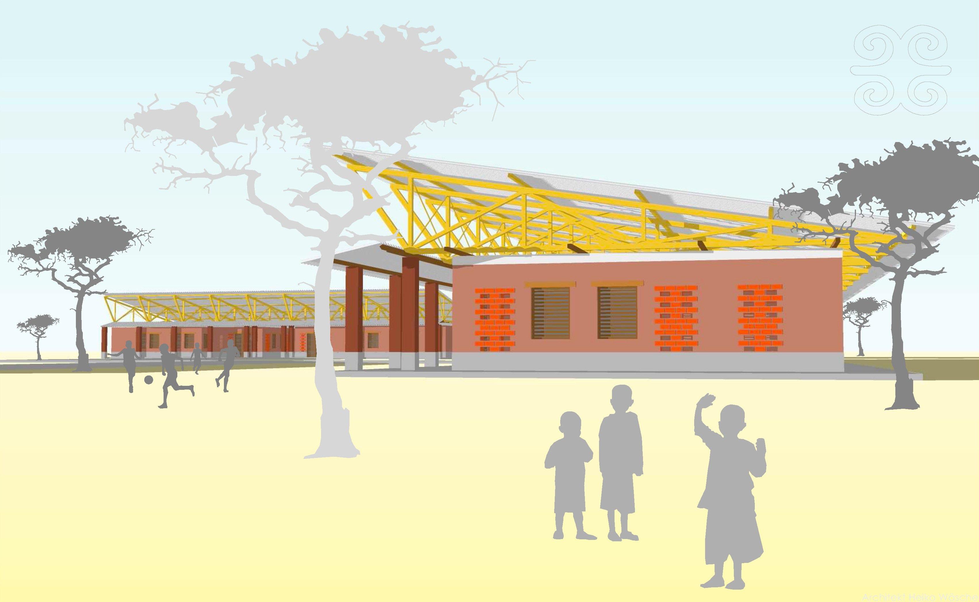 Skizze des geplanten Waisenhauses und Schule in Siaya in Kenia: Alle Gebäude werde aus Lehm gebaut, der vor Ort vorkommt.