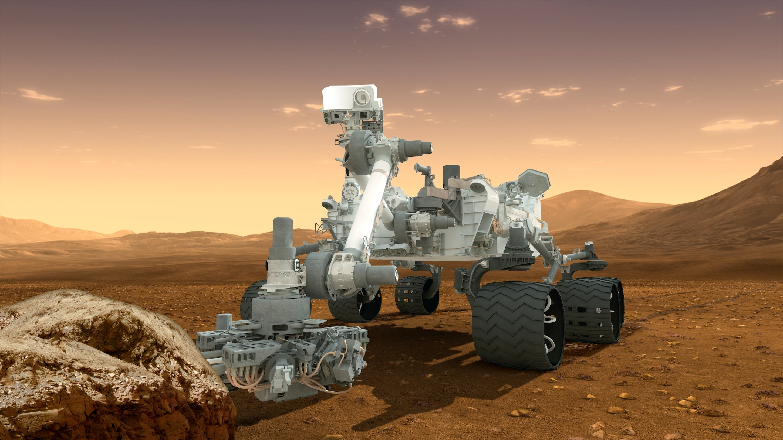 Curiosity beim Einsatz auf dem Mars: Der Rover schafft mit seiner teilautonomen Steuerung nur eine Spitzengeschwindigkeit von0,13 Kilometern pro Stunde.