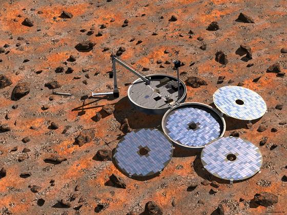 """So hätte die europäische Raumsonde """"Beagle 2"""" am 25. Dezember 2003 nach der Landung auf dem Mars aussehen sollen: Zunächst sollen die vier Solarmodule aufklappen, um die Stromversorgung zu gewährleisten. Ob das geklappt hat, ist bis heute unklar."""