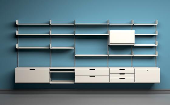 """Regalsystem """"606"""" von Dieter Rams, entwickelt in den Jahren 1959/60."""