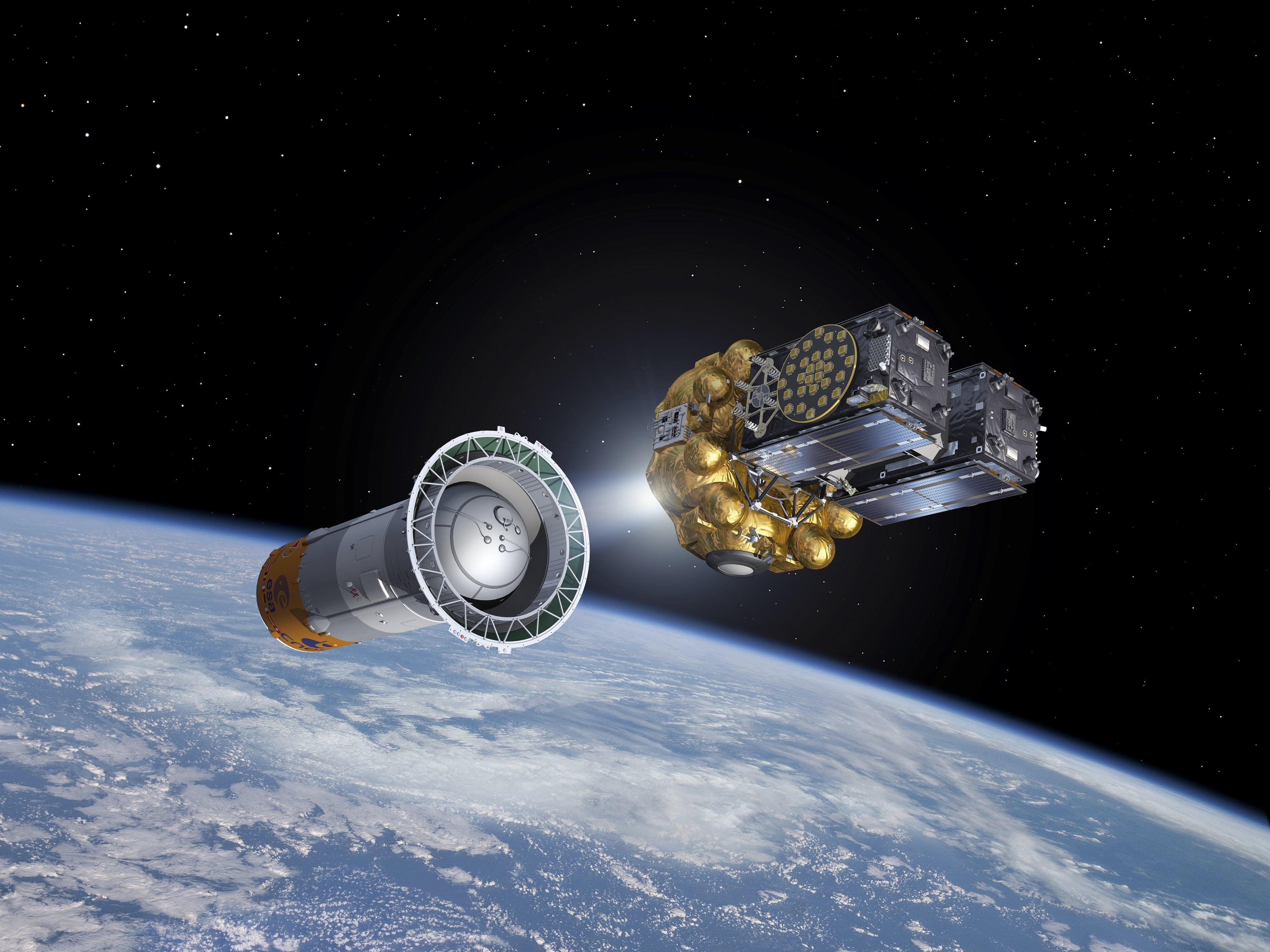 Die Satelliten 5 und 6 für das EU-Navigationssystem Galileo starteten im August 2014 ins All.