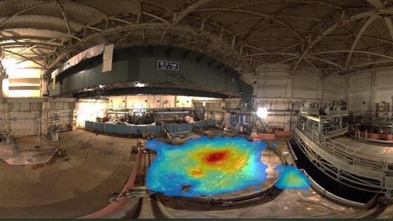 Eine 3D-Karte im Atomkraftwerk in Fukushima zeigt kontaminierte Standorte. Mit der von Createc entwickeltenKamera-Technologie namens N-Visage sind in dem havarierten Kernkraftwerk bislang in drei Reaktoren damit ausgerüstete Roboter unterwegs.