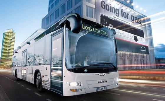 Erdgasbetriebener Bus von MAN.