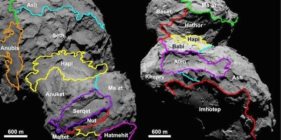 Eine Karte der verschiedenen Regionen auf Tschuri haben die Wissenschaftler jetzt erstellt. Benannt sind die 19 Regionen nach ägyptischen Gottheiten. 70 Prozent der Oberfläche Tschuris hat Rosetta bereits mit einer Auflösung kartiert, bei der mindestens 80 Zentimeter große Details zu erkennen sind.
