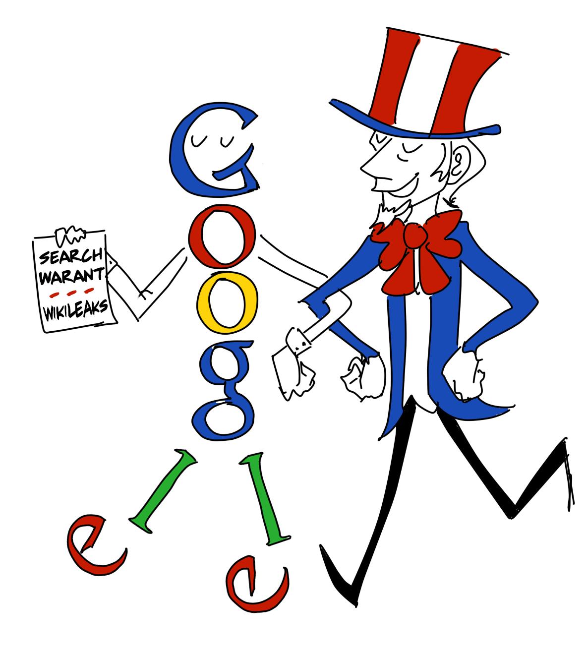 Mit einem Cartoon kritisiert Wikileaks das Vorgehen von Google.